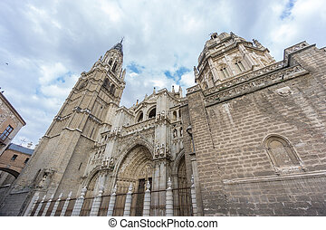 Toledo Cathedral, side view, Spain - Side view of Toledo...
