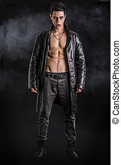 Young Vampire Man in an Open Black Leather Jacket, Showing...