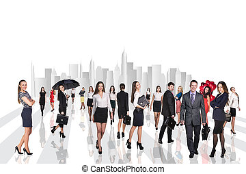 Business people walking on the city streets