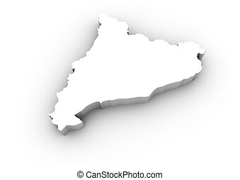 catalonia map - render of a catalonia map isolated