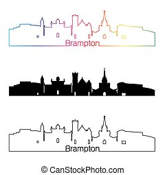 Brampton skyline linear style with rainbow in editable...