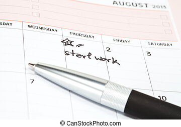 Appointment for start work concept image of a calendar
