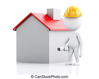 3d Architect people with helmet, plans and house. - 3d...
