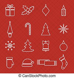 Christmas line icons set for web and holidays design