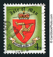 postmark - ISLE OF MAN - CIRCA 1979: Coat of arms of the...