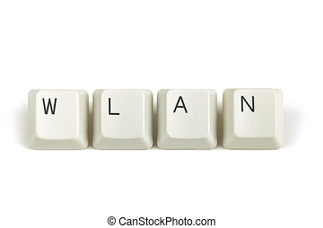 wlan from scattered keyboard keys on white - wlan text from...