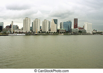 City of Rotterdam downtown skyline by the river in South...
