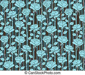 Roses. Seamless blue background with stripes