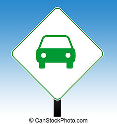 Motor car sign - Motor car road sign with blue sky...