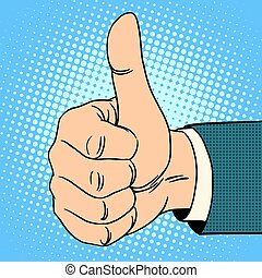 Thumb top gesture. Hitchhiking approval quality pop art...