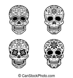 Day of the Dead Skulls - Black and White Set, White or Light...