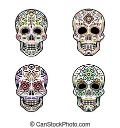 Day of the Dead Skulls - Colorful Set