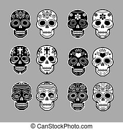 Day of the Dead Skulls - Black and White Set
