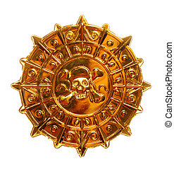Gold pirate medallion - Gold medallion with skull and...