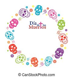 Day of the Dead Skulls Frame - Round, Circle Shape