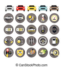 Car Specification and Performance Objects icons Set - Flat...