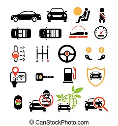 Car Specification and Performance Objects icons Set - Black...