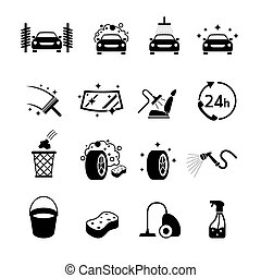 Car Wash Objects icons Set