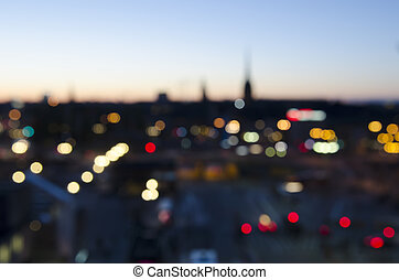 Blurred city background with lights and bokeh in Stockholm,...