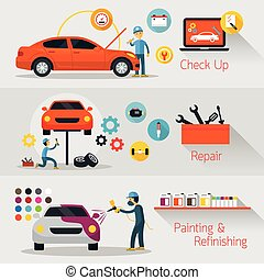 Car Check Up, Repair, Refinishing Banner - Automobile...