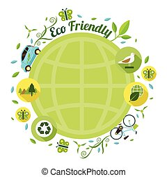 Eco Car and Environment Global Round Frame - Ecology, Energy...