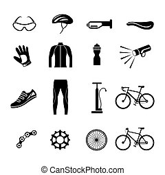 Bicycle Objects and Equipment Icons Set - Black and White,...