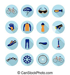 Bicycle Objects and Equipment Flat Icons Set - Cycling,...