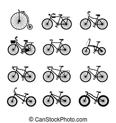 Bicycle Types, Objects Icons Set - Black and white,...