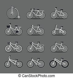 Bicycle Types, Objects Icons Set - White Frame