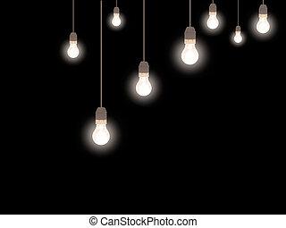 bulbos, estilo, antigas, luz, sobre, geado, pretas,...
