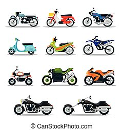 Motorcycle Types Objects Icons Set