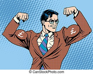 Businessman with muscles currency pound sterling pop art...