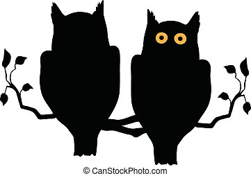 Silhouette of two owls on branch