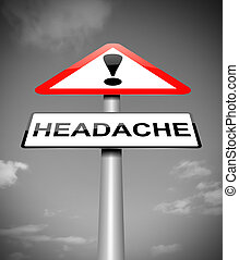 Headache concept - Illustration depicting a sign with a...