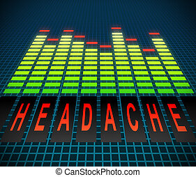 Headache concept - Illustration depicting graphic equalizer...