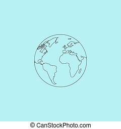 Pictograph of globe Simple outline flat vector icon isolated...