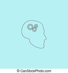 Human head gear hybrid knowledge Simple outline flat vector...