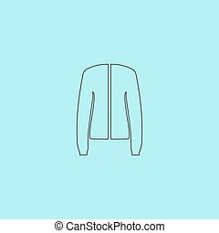Jacket, vector - Jacket. Simple outline flat vector icon...
