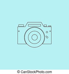 Digital photo camera Simple outline flat vector icon...