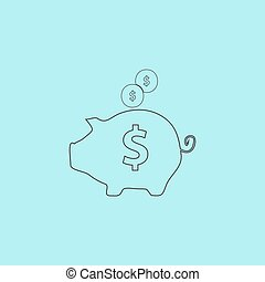 vector piggy money bank - Piggy money bank Simple outline...