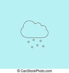 Cloud with hail Simple outline flat vector icon isolated on...
