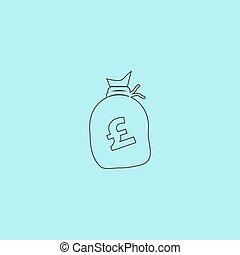 Money bag icon. Pound GBP - Money bag - Pound GBP. Simple...