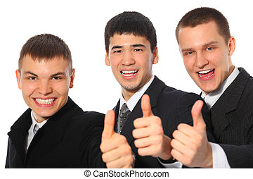 Three young businessmen show gesture ok
