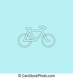 Mountain bike. Simple outline flat vector icon isolated on...