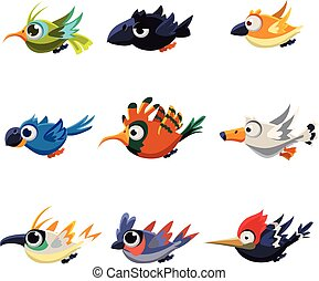 Cute Flying Birds Vector Illustration Set - Cartoon...