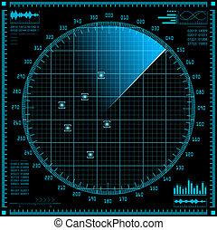 Blue radar screen HUD interface - Blue radar screen HUD...