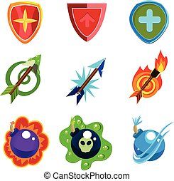 Weapon and Shield Icons Set for Games - Set for game...