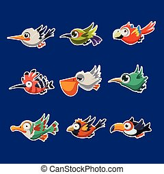 Colourful Flying Birds in Profile Vector Illustration Set -...