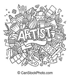 Artist hand lettering and doodles elements emblem hand drawn...