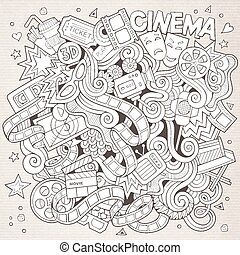 Cartoon hand-drawn Cinema Doodle Sketchy design background...